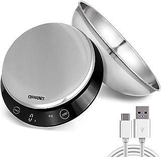 Balance de cuisine numérique étanche, rechargeable par USB, en acier inoxydable avec bol amovible, 5 kg, bouton tactile in...