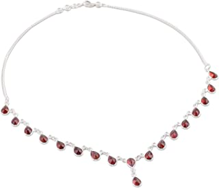 925 Sterling Silver Garnet Waterfall Pendant Necklace 'Scarlet Droplets', 16.5