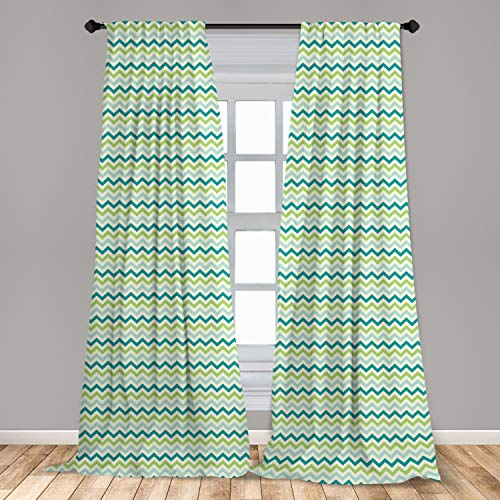 """Lunarable Chevron Curtains, Chevron Pattern in Cool Pastel Color Palette Creativity Springtime, Window Treatments 2 Panel Set for Living Room Bedroom Decor, 56"""" x 84"""", Lime Green Baby Blue"""