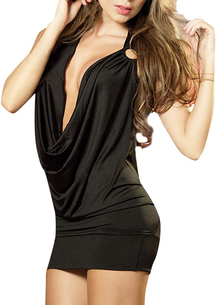 Women's Plunge Halter Bodycon Mini Dress Party Club with Backless & O-Ring