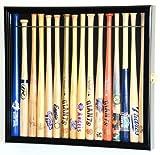 Small Mini 18' Baseball Mini Bat Display Case Cabinet Holder Rack w/98% UV Lockable Holds up to 16 Bats (Black Finish)