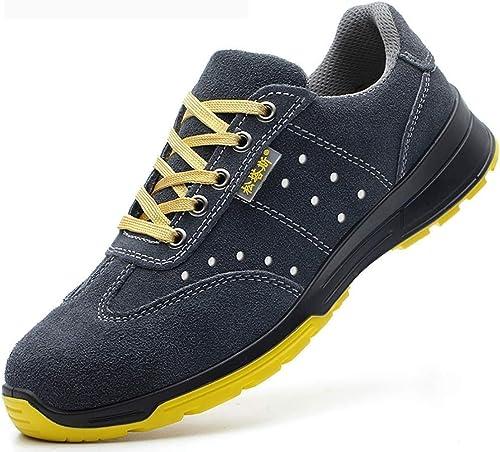 paniers de mode Bottes de travail basses, chaussures de sécurité aux orteils en plastique ultra-léger, anti-écraseHommest et résistantes aux coups de couteau, quatre saisons, trou d'aération + cuir de va