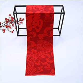 Acrylic Pure Color Red Scarf Chinese Character Blessing Unisex Thick Shawl,Perfect Accent to Any Outfit (Color : 03, Size : One Size)