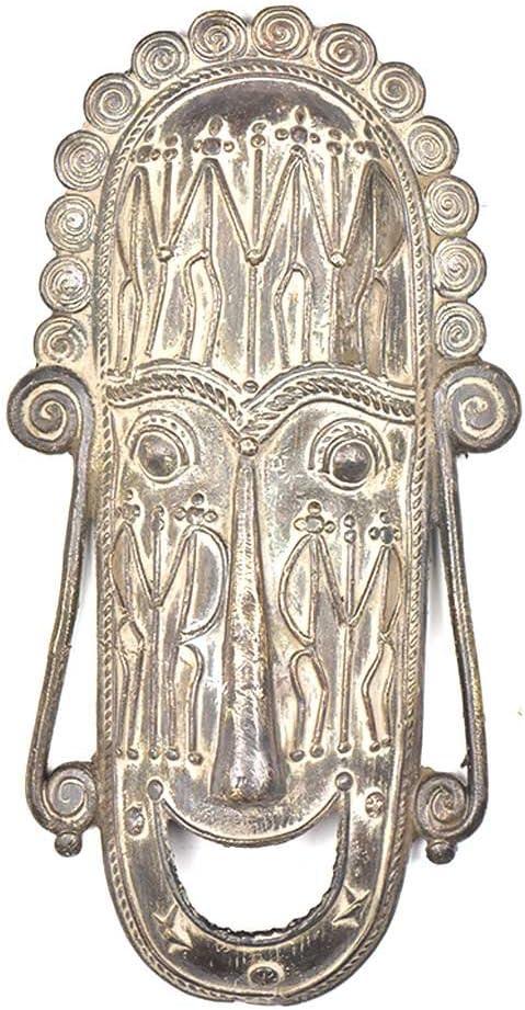 IndianShelf 1 Piece Handmade Antique Branded goods Wa Brass Tribal Mask Super Special SALE held Golden