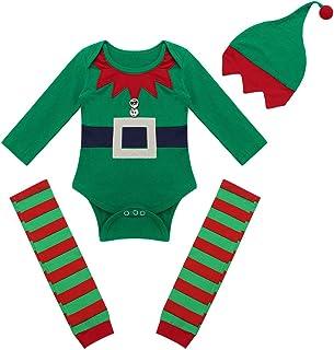 b457713d13ce1 Agoky Bébé Déguisement Elfe Lutin Costume Robin de Bois Fille Garçon  Barboteuse Noël Combinaison + Pantalon