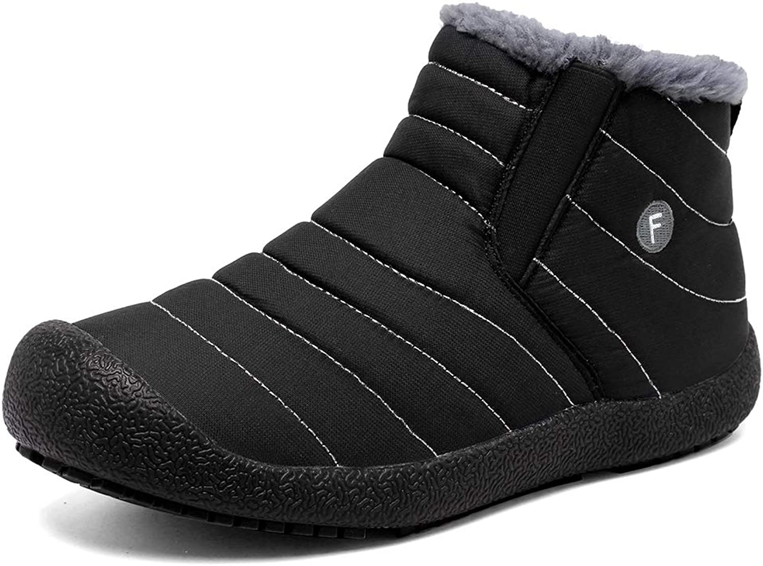 CIOR Mens Anti-Slip Snow Boots with Fully Fur Lined High Top Low Top