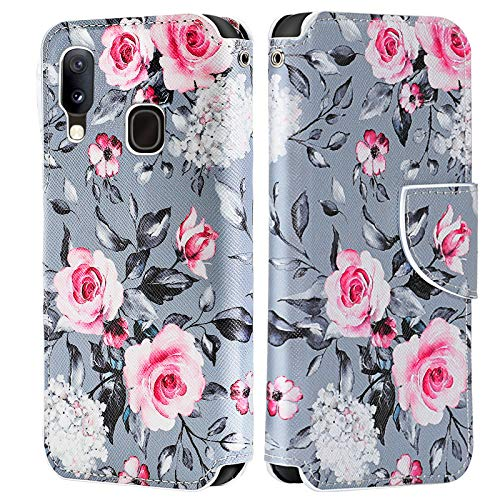 LeYi Hülle für Samsung Galaxy A20e Mit HD Schutzfolie,Leder Handyhülle Stoßfest Klappbar Wallet Etui Magnet Schutzhülle Tasche Slim Silikon Soft Grip Cover Bumper TPU Case für Handy A20e Graue Blume