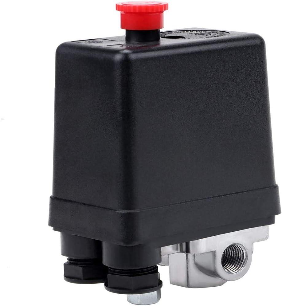 TOCYORIC 4 trous Air compresseur pression interrupteur contr/ôle Valve 240V 90-120 PSI Pressostat de compresseur dair R/égulateur de contr/ôle