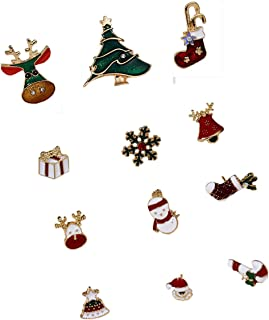 ZXNM 12 PZ Natale Set di Spille perni Cartoni Animati Lega Distintivo con Strass novità Smalto Accessori di Abbigliamento