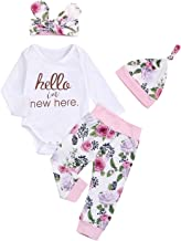 Hello I'm New Here Newborn Infant Baby Girl Floral Outfits Long Sleeve 4Pcs Fall Winter Clothes Set