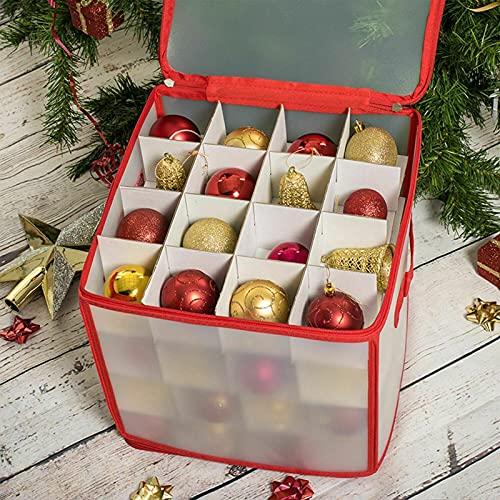 Pudełko do przechowywania bombek choinkowych, 30 x 30 x 30 cm, pudełko do przechowywania, pudełko do sortowania, pomieści 64 bombki choinkowe, ozdoby bożonarodzeniowe, pudełko do przechowywania