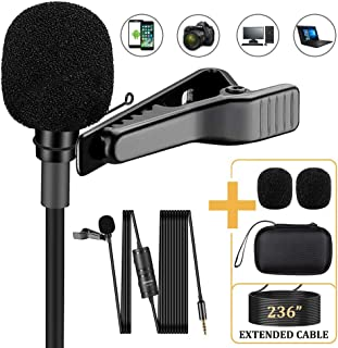 Soonpho Professional Lavalier Lapel Microphone,3.5mm Omnidirectional Condenser Mic Easy Clip On Microphone with Windscreen for iPhone,Camera,DSLR,Recording YouTube,Video Conference,Podcast,Interview