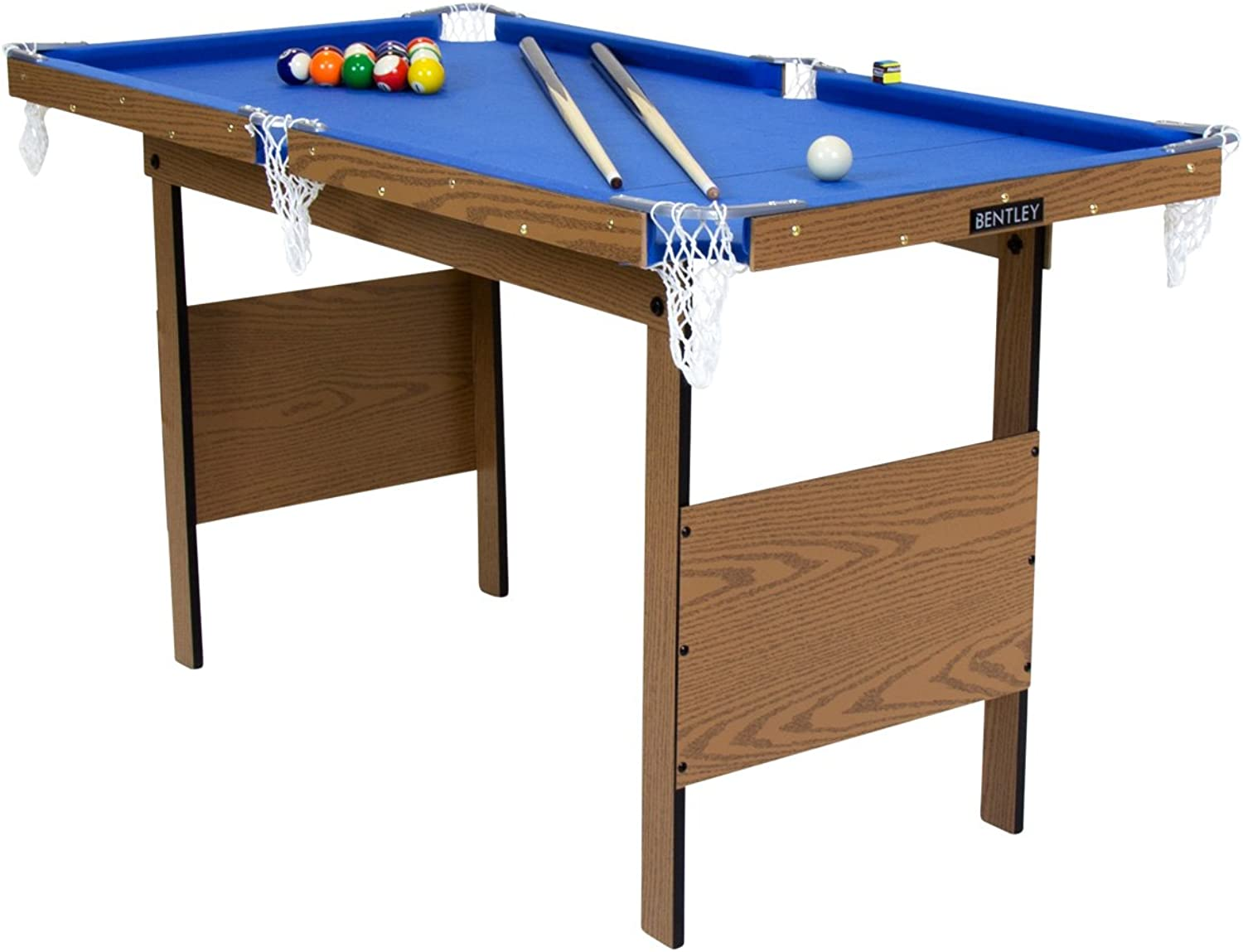 Charles Bentley Kids Junior 4Ft bluee Pool Games Table With Spots & Stripes Pool Balls & 2 Cues Indoor INCLUDES ALL ACCESSORIES
