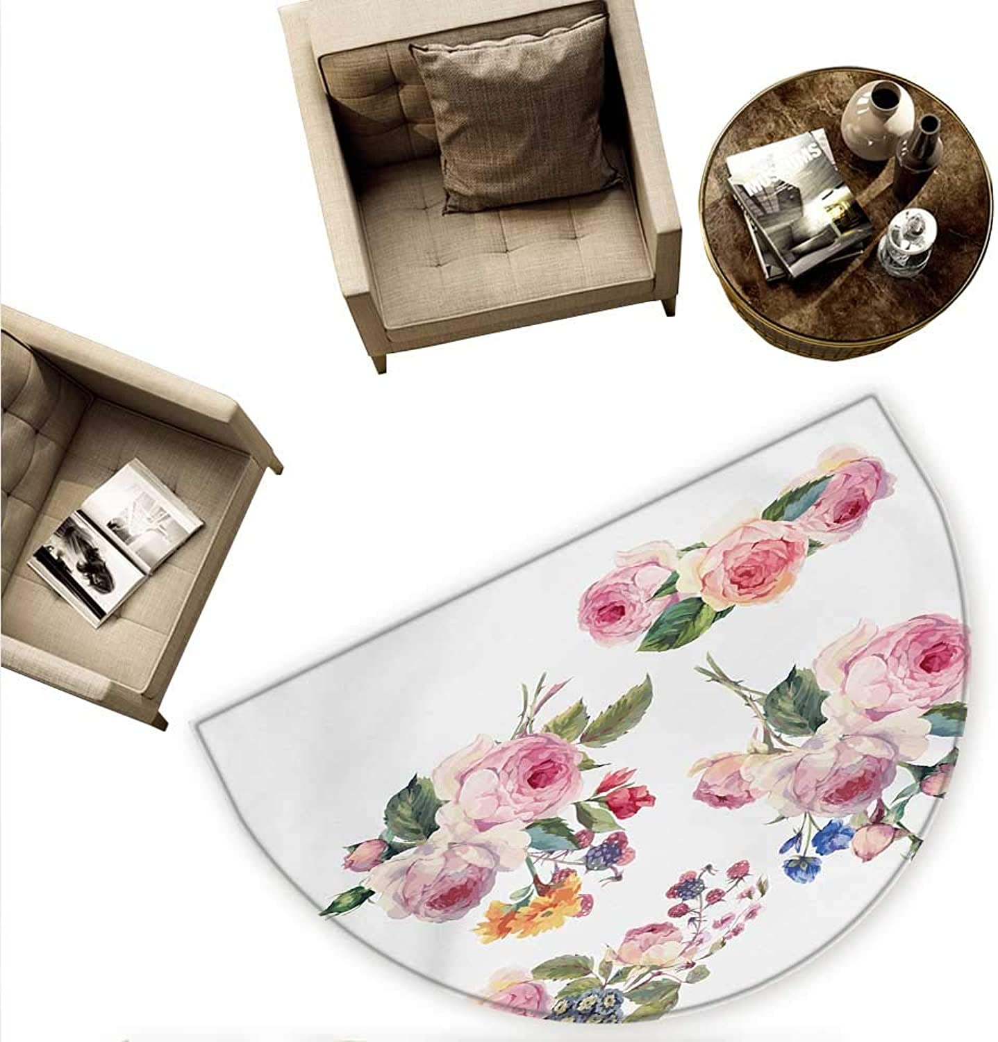 pink Semicircle Doormat Vintage Floral Bouquets with English pinks Wildflowers Botanical Natural Summer Time Halfmoon doormats H 70.8  xD 106.3  Multicolor