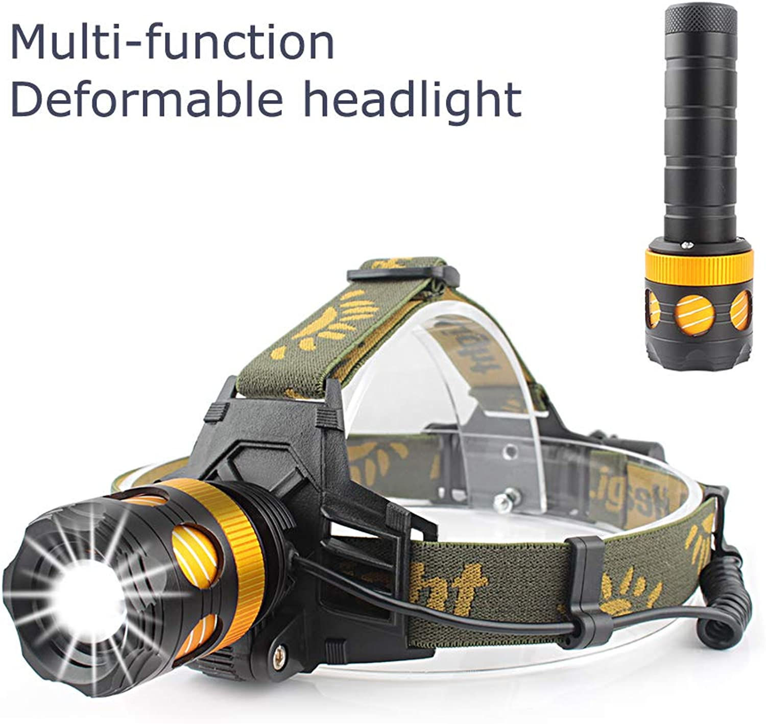 CiSiRUN Headlamp, LED Work Headlight, USB Rechargeable Waterproof Flashlight Work Light,Head Lights Flashlight for Camping, Hiking, Outdoors with Charger and Rechargeable Battery