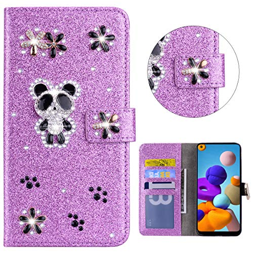 Sparkly Flip Case for Samsung Galaxy A21S Glitter Wallet Bling Case Purple Handmade 3D Panda Flip Notebook Wallet Case with Magnetic Kickstand ID Card Holder Book Style Cases Cover Samsung Galaxy A21S