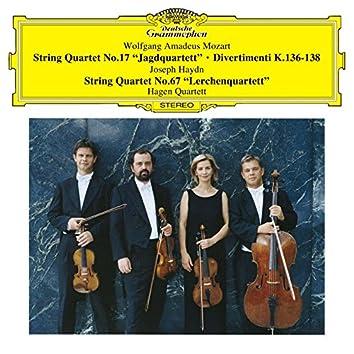 モーツァルト:弦楽四重奏曲第17番《狩り》 、ディヴェルティメント 第1番 K.136/ハイドン:弦楽四重奏曲第67番《ひばり》