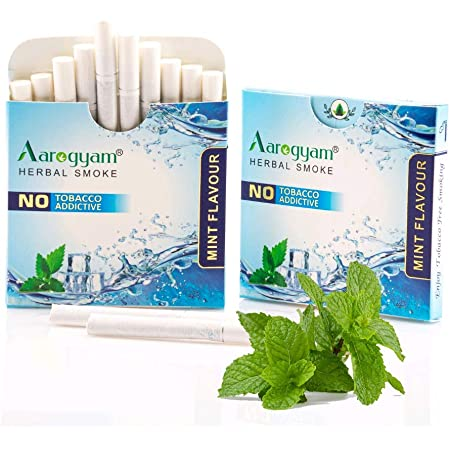 Aarogyam Herbals 100% Tobacco & Nicotine Free Flavoured Cigarette - (10 Sticks in Each Packet) (MINT FLAVOUR, 1 Packet)