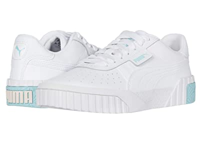 Puma Kids Cali (Big Kid) (White/Gulf Stream/Rosewater) Girls Shoes