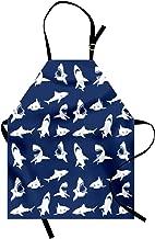 Ambesonne Shark Apron, Shark Pattern with Various Gestures Have a Bite Danger Humor Nautical Design, Unisex Kitchen Bib with Adjustable Neck for Cooking Gardening, Adult Size, Violet Blue