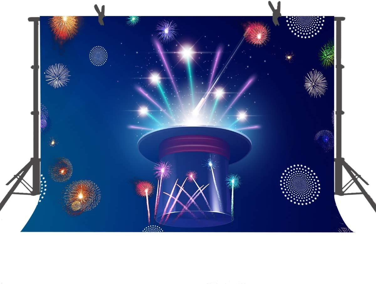 10x6.5ft Night Sky Background Magician Hat Colorful Firework Photography Background Theme Party Decoration Prop Photo Studio Prop HXFU285