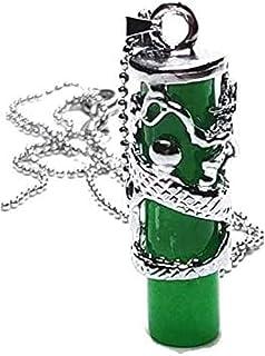 yigedan Silver Natural Dragon Green Jade Pillar Pendant Necklace