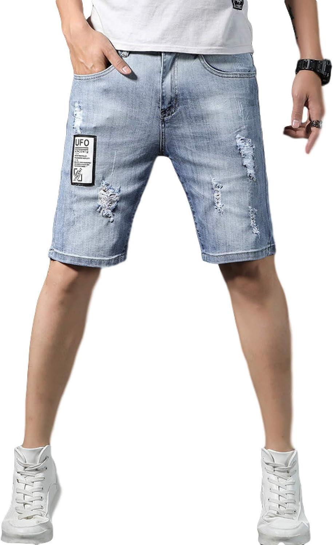 Jubaton Mens Mid Waist Denim Shorts Slim Fit Distressed Ripped Half Jeans Pant, Summer