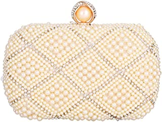 Runhuayou Women's Handmade Pearl Banquet Bag Ladies Eventide Bag Bride Clutch Bag Banquet Bag Suitable for Females of All Ages on Any Occasions (Color : Gold)