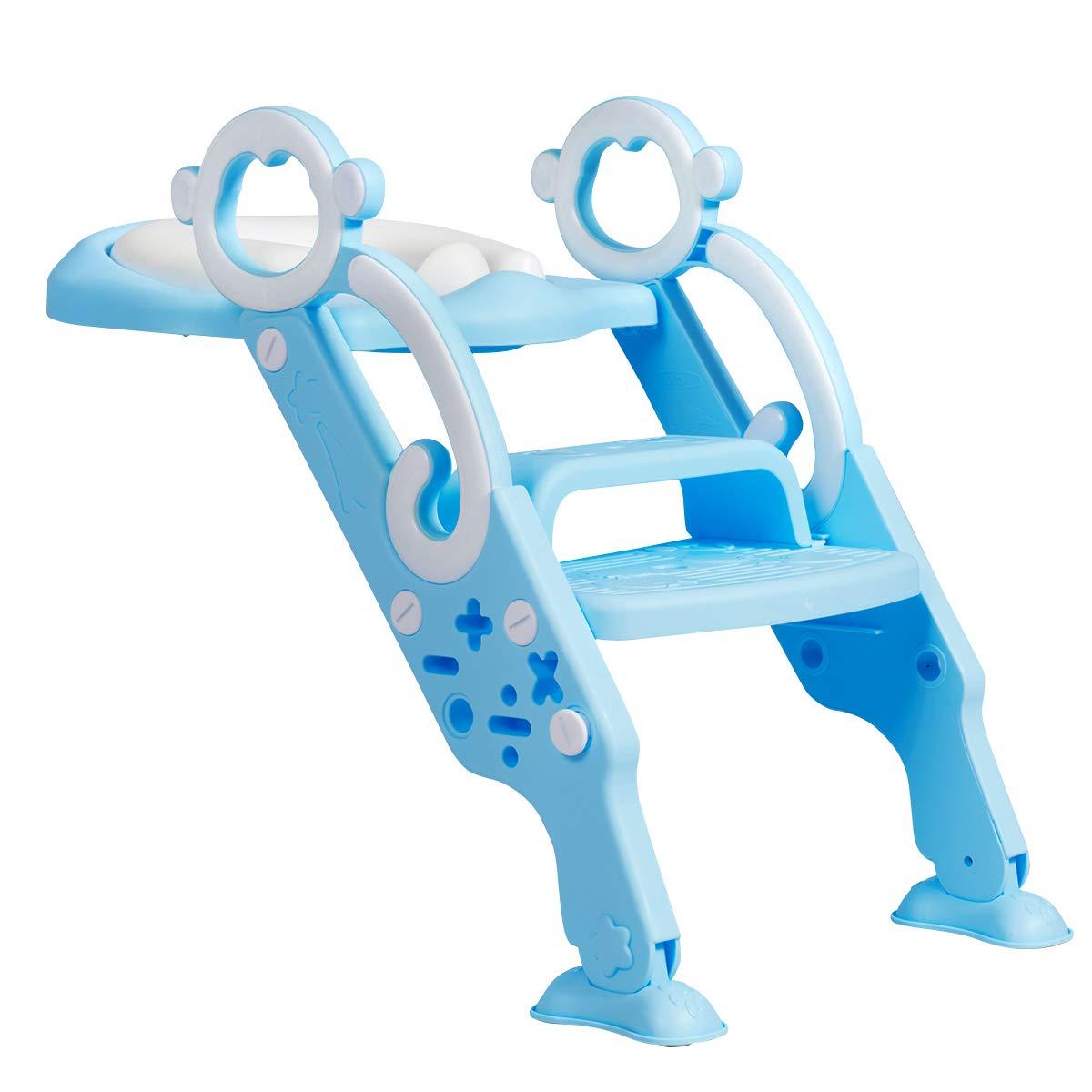 GOPLUS T/öpfchentrainer Blau Toilettenleiter f/ür Kinder Toilettensitz h/öhenverstellbar 35 bis 42 cm faltbarer Toilettensitz mit Treppe Armlehnen Toilettentrainer ab 2 Jahre