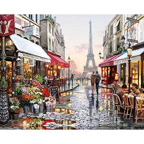 Northern Tree Dipingere da Numero Kit Tele da Dipingere con i Numeri Fai-da-Te Pittura a Olio su Tela per Adulti Bambini 16 * 20 Pollici-- Paris Street (Senza Cornice)
