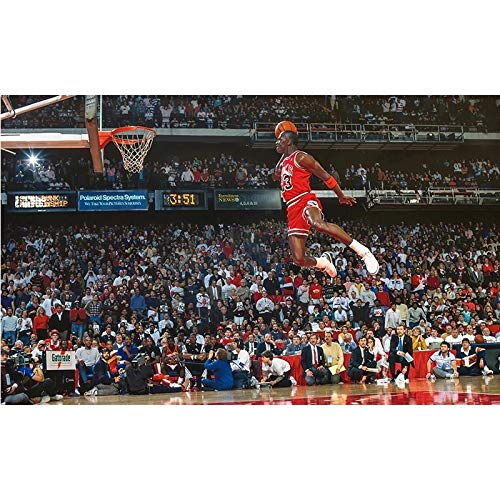 MJKLU World Champion Portrait Oil Painting Basketball Star Classic Dunk Scene Art Prints and Posters Home Decoration Fans Gifts Souvenirs