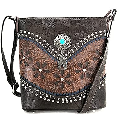 Justin West Turquoise Stone Concho Feathers Western Tooled Studs Concealed Carry Handbag Purse (Brown Messenger Only)