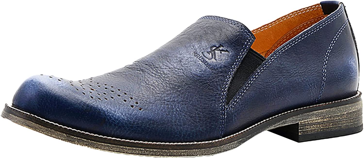 Icegrey Men's Leather Brogue Slip On Handmade Loafer shoes