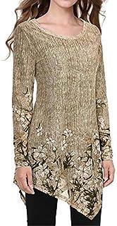 HJHK Shirt Women Round Neck Elegant Loose Long Sleeve Flowy Floral Print Sexy Asymmetrical Retro Chiffon Shirt Autumn Ligh...