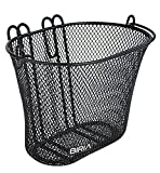 Basket with Hooks Black, Front, Removable, Wire mesh Small, Kids Bicycle Basket, Black