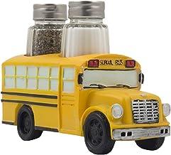 Decorative Model School Bus Glass Salt and Pepper Shaker Set As Display Stand Holder Figurine for Unique Restaurant Dining...
