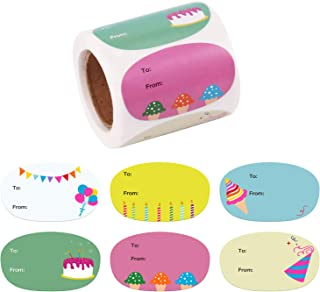 WRAPAHOLIC Cute Birthday Gift Stickers - Unique Cute Design Present Stickers - 6 Different Designs for Birthday, Party, Baby Shower - 2.5 x 1.5 Inch 300 Total Labels