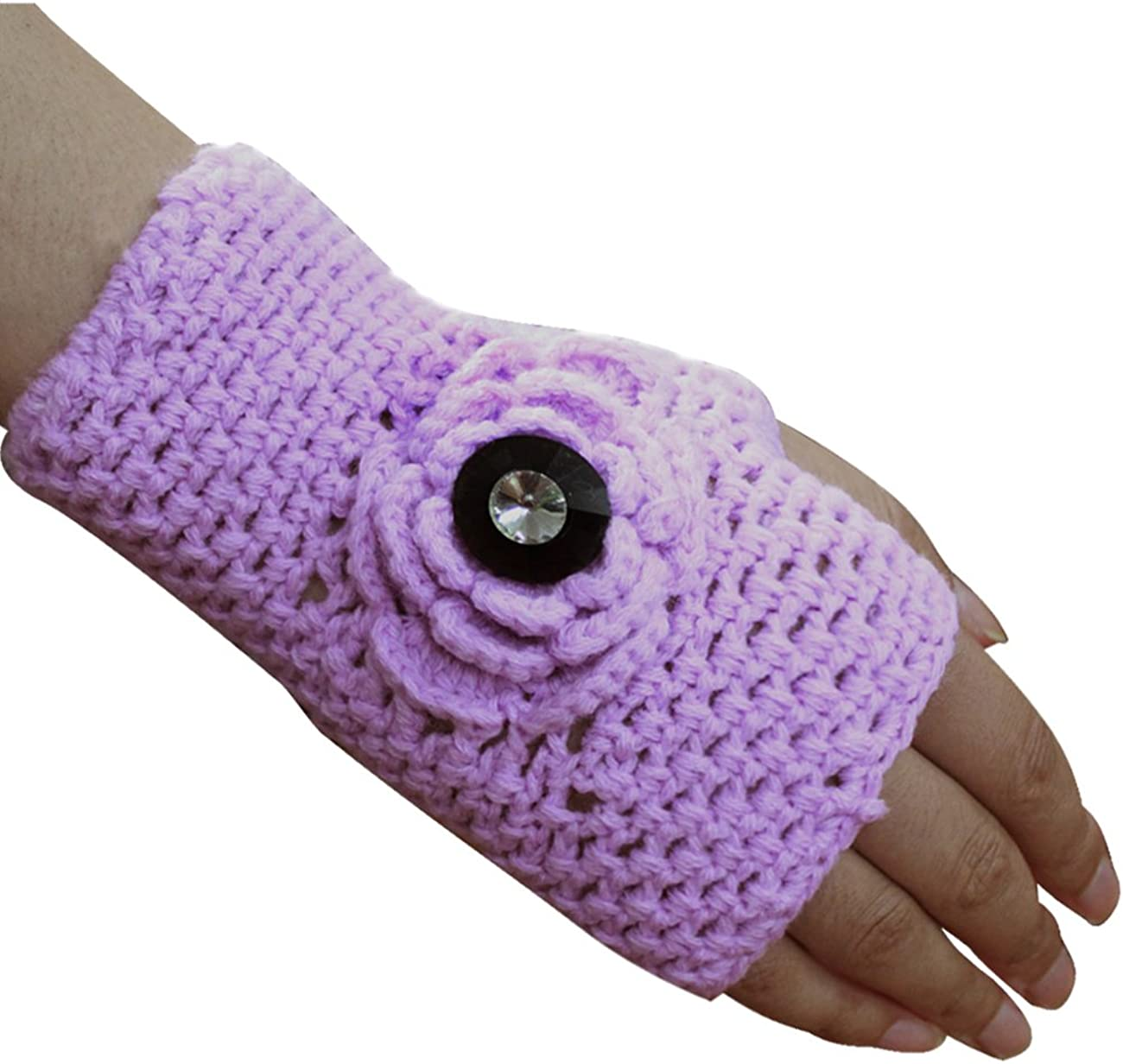 Dahlia Fingerless Gloves for Women - Sythetic Wool, Knitted Hand Warmers