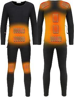 Men Electric Heated Thermal Long Sleeve Tops & Pants, Multifunction Intelligent Heating Underwear Set Winter Warm USB Rech...