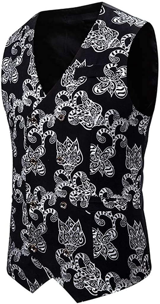 MODOQO Men's Waistcoat Casual Print Double Brested Sleeveless Vest Suit for Formal Party
