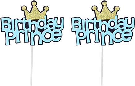 Amosfun 6pcs Glitter Birthday Prince Cake Toppers Cupcake Toppers Cake Picks with Crown for Baby Boys Baby Shower Birthday Cake Decorations Party Supplies (Sky-Blue)