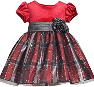 Baby Girls Short Sleeve Holiday Christmas Dress with Red Velvet and Plaid