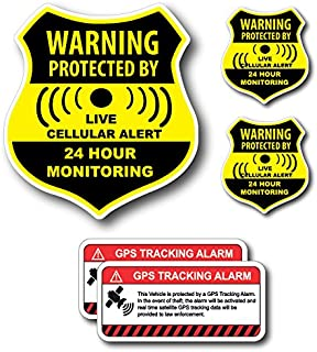 (5 Pack) Combination Pack of 24 Hour Monitoring - This Vehicle Protected by GPS Tracking Warning Signs - Decal Self Adhesive Sticker Vinyl Decal — UV Resistent