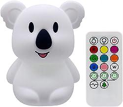 Tekemai Baby Nacht Licht, Nachtlampje voor Kinderen Veilig Zacht Siliconen Nachtlampje 9 Kleuren met Afstandsbediening, US...