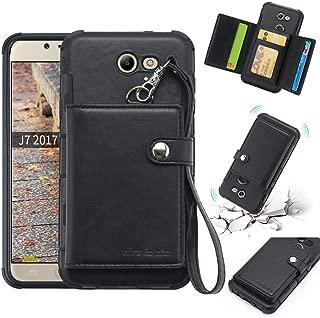 Galaxy J7 Prime 2017 Case, Samsung Galaxy J7 Perx/Galaxy J7 Sky Pro/Galaxy J7 V / J7 2017 Phone Case, Trifold Wallet Case Card Holder, Fits 8 Cards & Cash - Black