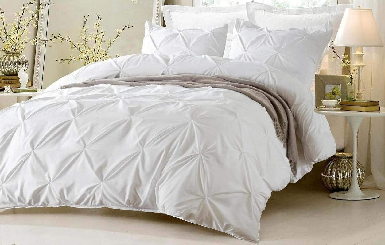 Amazon Com Exclusive 800 Tc Decorative 5 Piece Pinch Pleated Pintuck Duvet Cover Set Western King 120x120 Size Zipper Closer With Corner Ties Natural Cotton Comforter Cover White Solid Kitchen Dining
