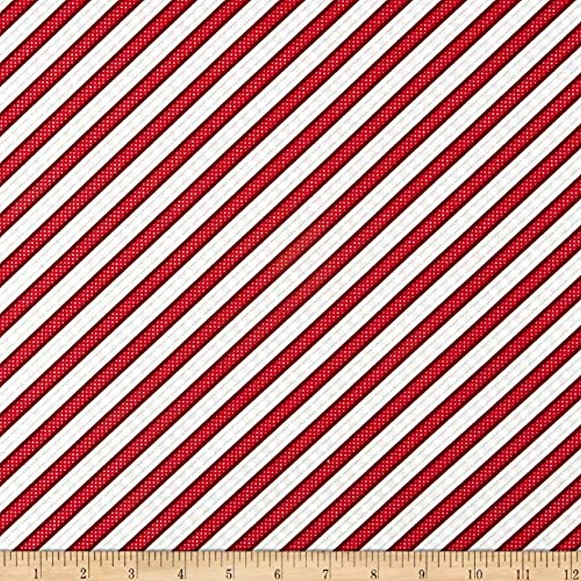 Wilmington Prints (WIN62) 0621845 Wilmington Snowy Wishes Ticking Stripe Red Fabric, 1,