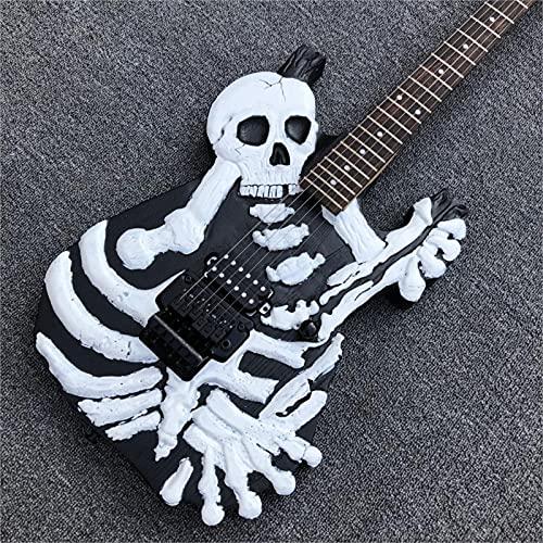 KEPOHK Black Skull Guitarra eléctrica, 6 cuerdas Huesos Guitarra eléctrica de madera...