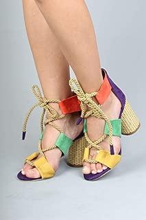 Halat Bağcıklı Çok Renkli Mor Hasır Topuklu Kadın Ayakkabı - Offex