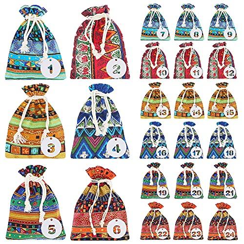 LZYMSZ 24 bolsas de regalo con cordón, bolsas de joyería de estilo étnico, bolsas de la compra reutilizables de arpillera con 24 etiquetas para regalos, dulces, aperitivos, fiestas (10 x 15)